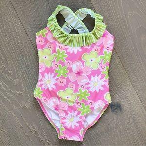 NEW Sz 4 FLAP HAPPY Girls Floral Halter Swimsuit